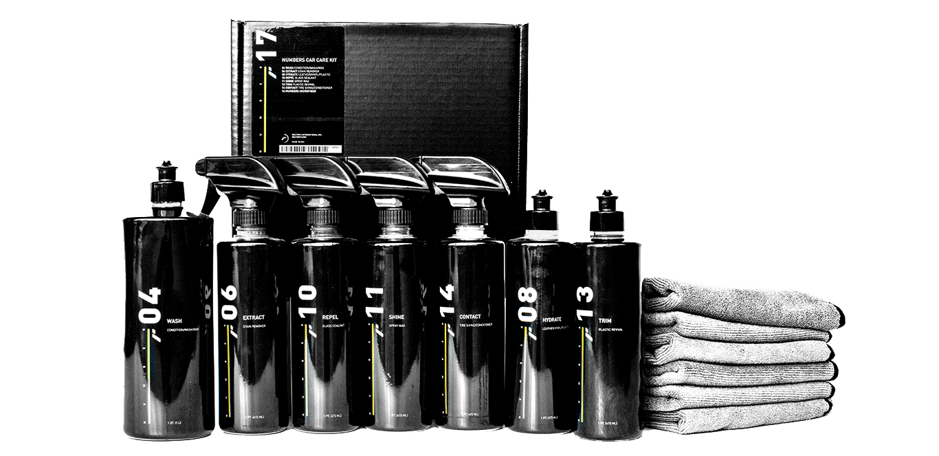 Editorial shot of Numbers by RestorFX 17 Car Care Kit product bottles, microfibers and kit box