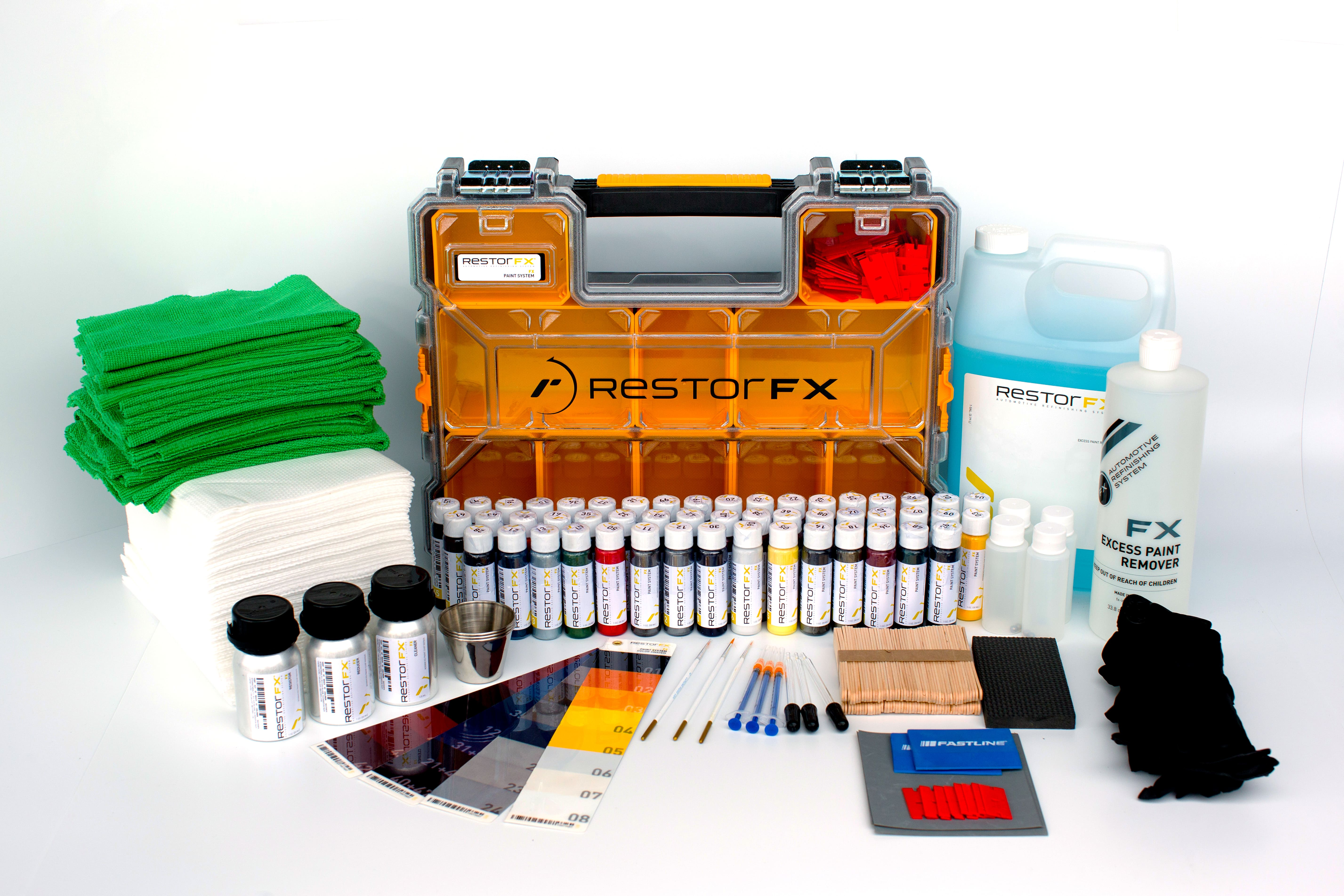 FX Paint System complete kit with paint vials, complementary liquids, manual, accessories, toolbox and more