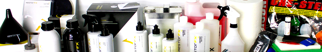 Family of FX Preparation products in bottles, cans, boxes and pads, sprayers, cloths, others to prepare for car restoration